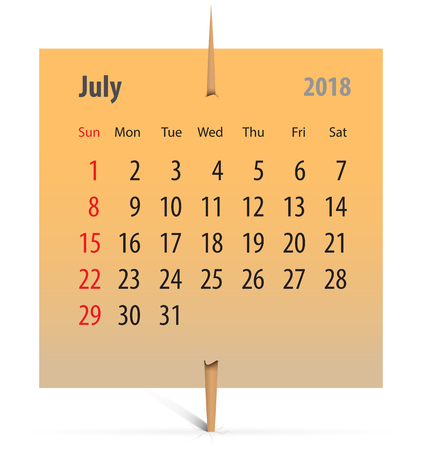 Calendar for July 2018 on an orange sticker attached with toothpick. Vector illustration Ilustração