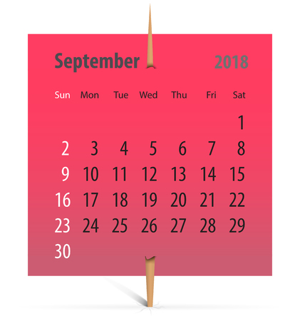 Calendar for September 2018 on a red sticker attached with toothpick. Vector illustration Ilustração
