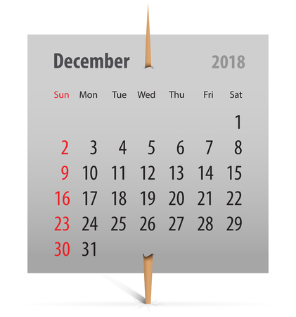Calendar for December 2018 on a gray sticker attached with toothpick. Vector illustration Vettoriali