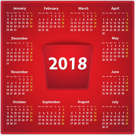 Red calendar for 2018 year in English on leather background with 2018 in a pocket. Vector illustration Vectores