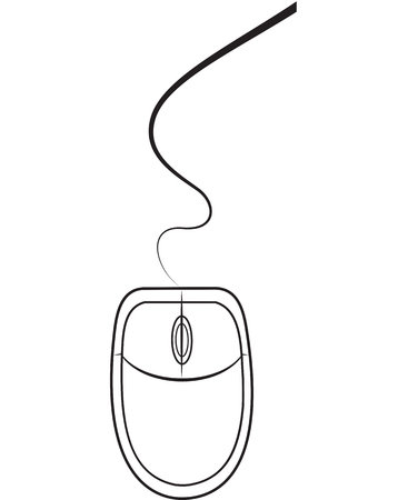 Thin line computer mouse on white. Vector illustration
