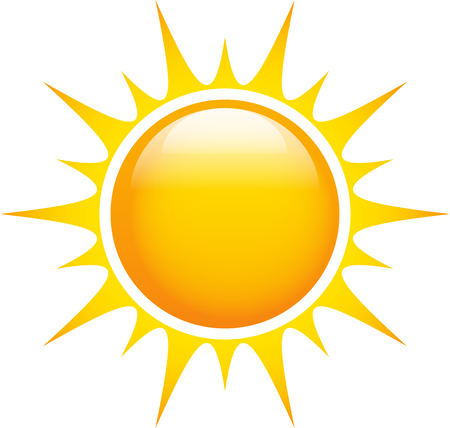 Sun glossy and bright shining with sharp rays. Graphic icon. Vector illustration Ilustração