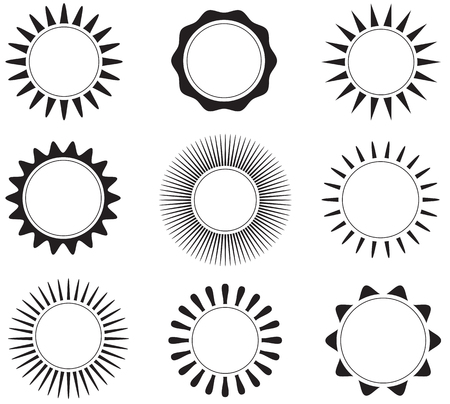Black and white flat sun icons. Vector illustration