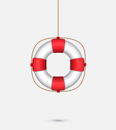 Life saver ring hanging with a rope. SOS symbol. Vector illustration of a lifebuoy. Lifebelt
