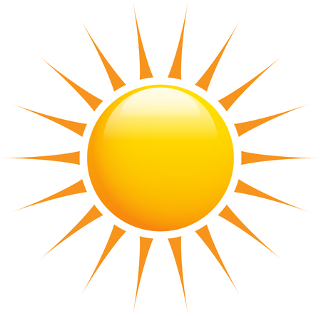 Summer sun shinig with super sharp sun-rays on white. Vector illustration