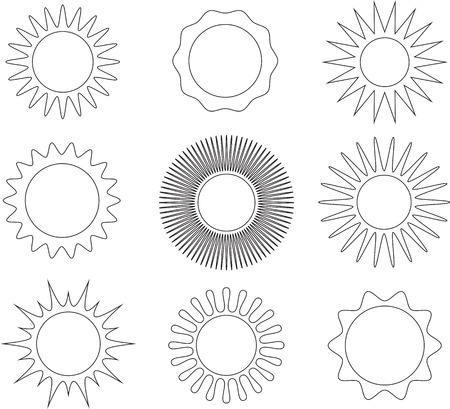 Thin line black and white sun symbol set. Vector illustration Ilustração