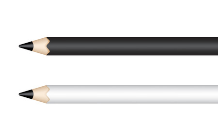 Black and white pencils isolated on white background. Vector illustration Ilustração