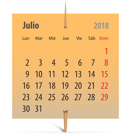 Spanish calendar for July 2018 on an orange sticker attached with toothpick. Vector illustration