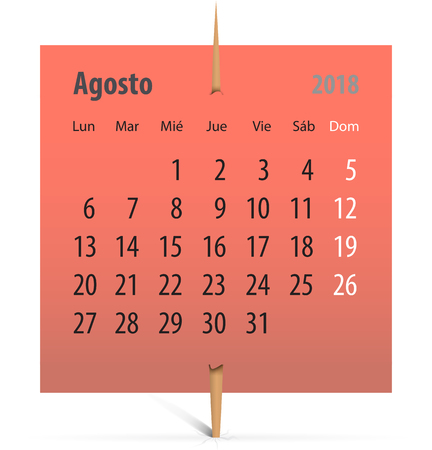 Spanish calendar for August 2018 on a sticker attached with toothpick. Vector illustration