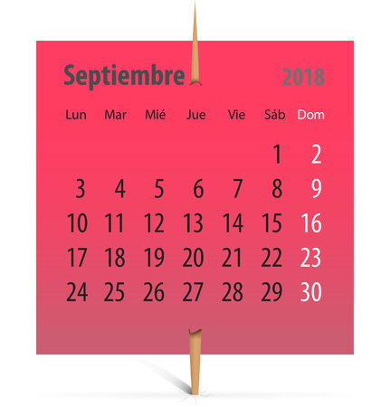 Spanish calendar for September 2018 on a red sticker attached with toothpick. Vector illustration