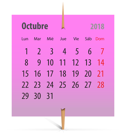 Spanish calendar for October 2018 on a pink sticker attached with toothpick. Vector illustration Ilustração