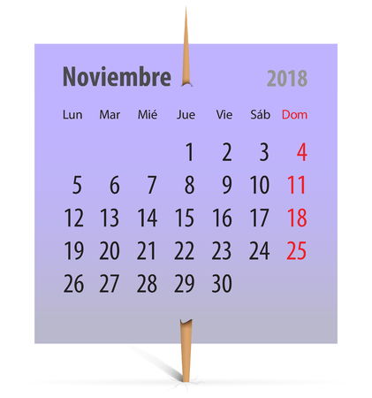 Calendar for November 2018 on a violet sticker attached with toothpick. Vector illustration