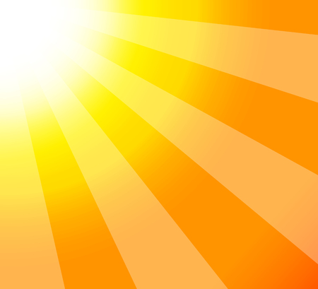Smmer background of sun-rays abstract closeup view. Bright sunshine. Vector illustration. Ilustração