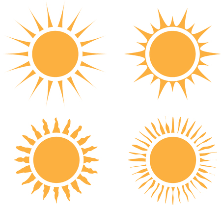 Sun icon set. Flat design graphic. Editable elements for different uses. Creative summer symbols on white background. Vector illustration Ilustração