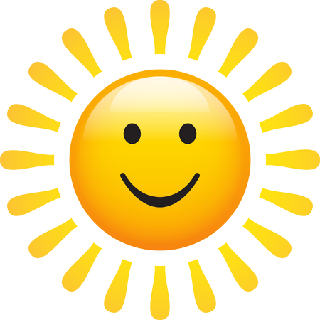 Sun smiling on white background. Abstract symbol of a shinning sun. Conceptual vector illustration of nature.