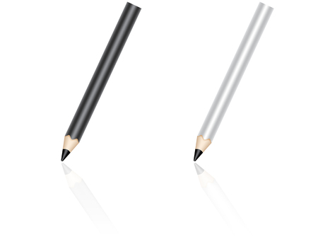 Black and white pencils in the process of writing. School stationaries wit reflection. Vector illustration