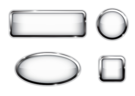 White buttons in different shapes, circle, rectangle, square, oval. Glossy web elements. Vector