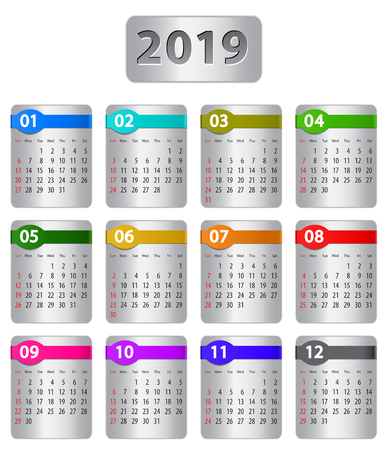 Calendar for 2019 year with colorful stickers. Vector illustration Ilustração
