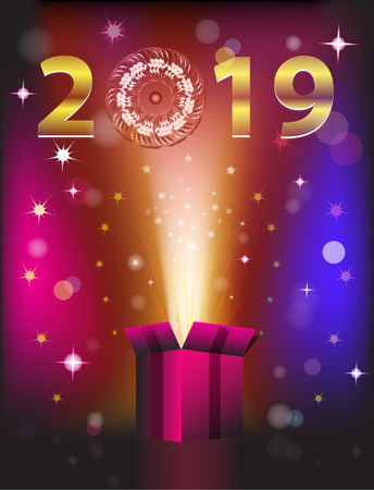 Magical gift card for 2019 New Year. Vector illustration Ilustração
