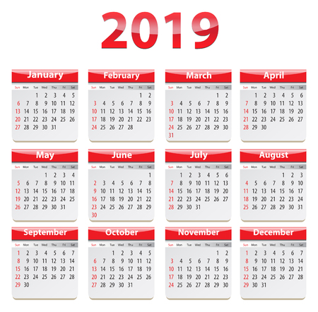 Calendar for 2019 year in English. Vector illustration