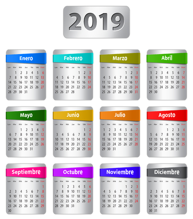 Calendar for 2019 year in Spanish with colorful stickers. Vector