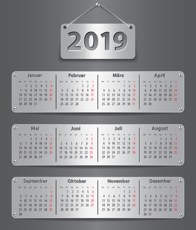 Calendar for 2019 year in German with attached metallic tablets. Vector illustration