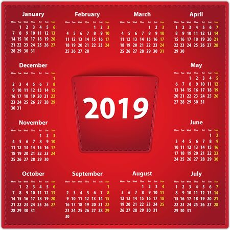 Red calendar for 2019 year in English on leather background with 2018 in a pocket. Vector illustration
