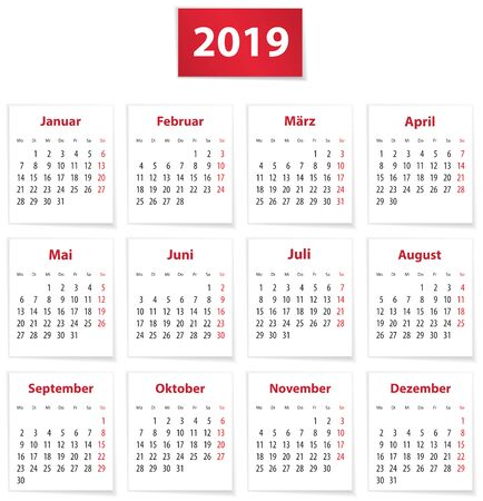 Calendar for 2019 year in German on white paper. Vector illustration Ilustração