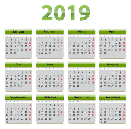 Green calendar for 2019 year in German language Ilustração