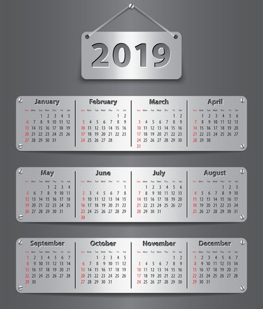 Calendar for 2019 year in English attached with metallic tablets. Vector illustration Ilustração