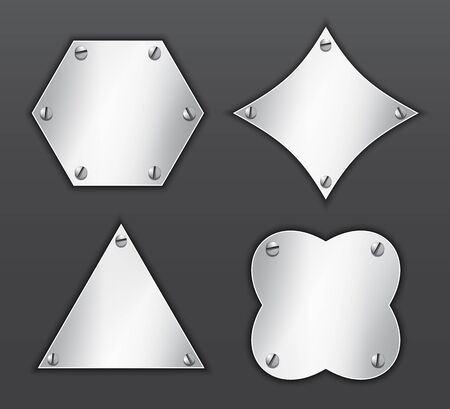 Metallic icons in different shapes attached with screws. Triangle, rhombus, hexagon. Blank buttons. Vector illustration