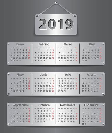 Calendar for 2019 in Spanish with attached metallic tablets. Vector illustration