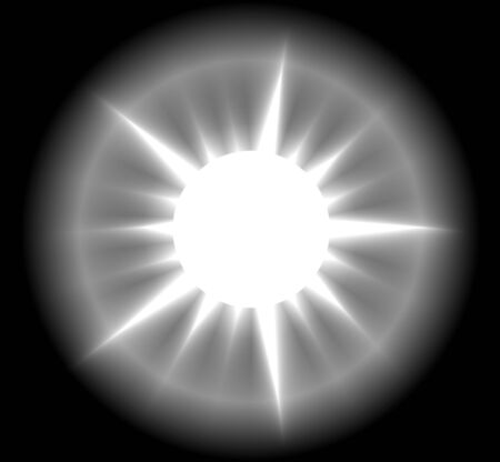 Vector illustration of a white abstrct sun on black background. Shining sun with realistic sunrays.