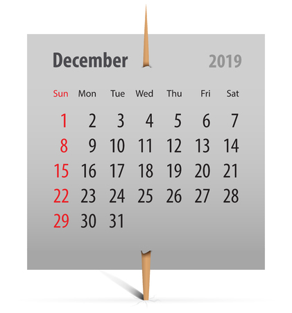 Calendar for December 2019 on a gray sticker attached with toothpick. Vector illustration