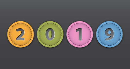 2019 New Year colorful tags. Leather labels on dark background. Vector illustration