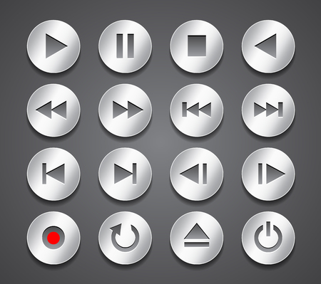 Multimedia control icons. Gray metallic shiny buttons on dark background. Technology signs and symbols. Vector illustration