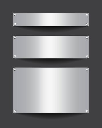 Blank metallic banners attached with screws on dark background. Empty gray templates. Space for text. Vector illustrtion