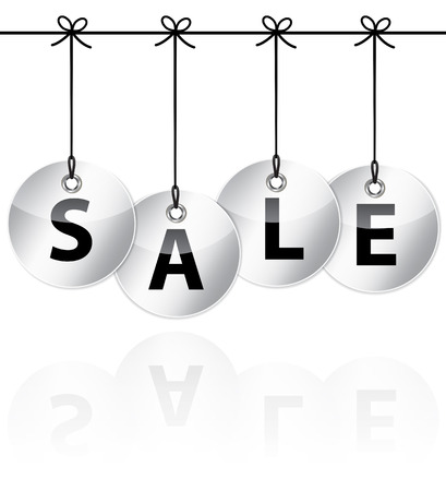 Metallic glossy icons with the word sale hanging like Christmas baubles. Vector Ilustração