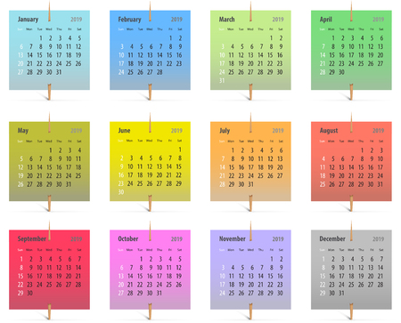 Calendar for 2019 in English on colorful stickers attached with toothpicks. Vector illustration Ilustração