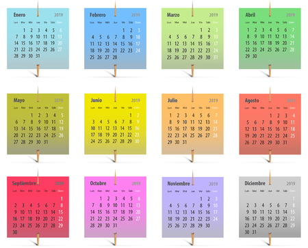 Calendar for 2019 in Spanish on colorful stickers attached with toothpicks. Vector illustration Ilustração