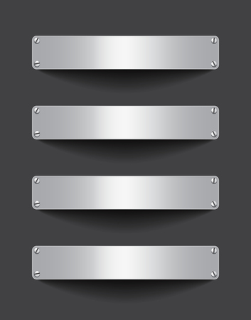 Blank metallic banner set attached with screws on dark background. Empty gray tablets. Billboards. Space for text. Vector illustrtion Ilustração