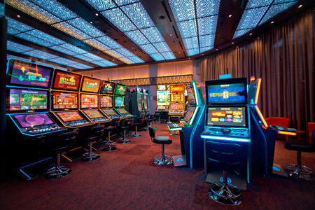 New Slot Machines in Casino. Modern slots in Casino Hall.