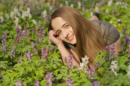 corydalis: Portrait of beautiful girl in corydalis Stock Photo