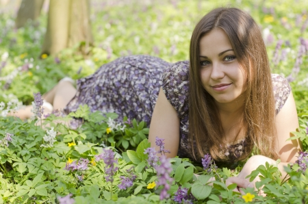 girl in the forest: girl; forest; book; corydalis; herb; nature; look; pose; cloth; fase; tree; modern; idea; flower
