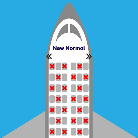 Airplane seat after Covid-19 ,New normal ,seats in cabin of airplane and some seats have a red cross ,vector ,illustrator.