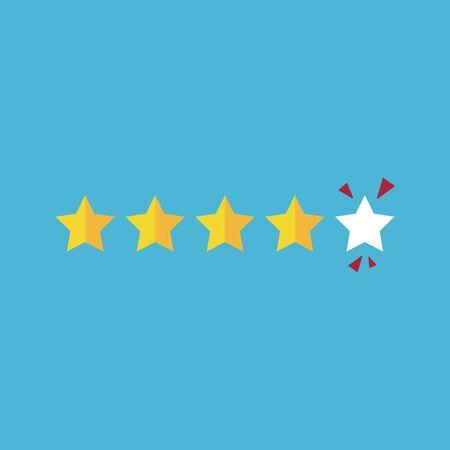 Stars rating icon, four rating star, feedback concept, vector, illustration. Vektorgrafik