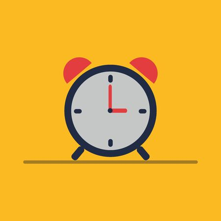 Alarm clock icon, alarm clock for time with a bell, time concept, flat design, vector, illustration.