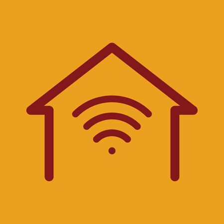 Smart home wifi icon, wifi in home, work from home, vector, illustration.  イラスト・ベクター素材