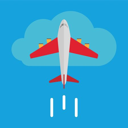 Airplane icon, flying aircraft in the sky, vector, illustration.