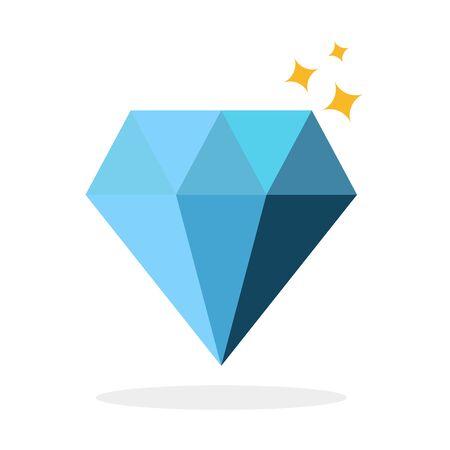 Diamond icon, blue diamond symbol, jewelry, vector, illustration.